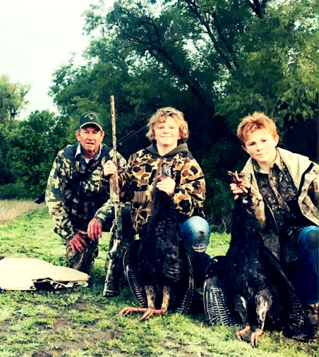 opa and boys turkey hunting